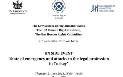"""UN Side Event: """"State of emergency and attacks to the legal profession  in Turkey"""""""
