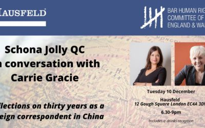 EVENT: BHRC Chair Schona Jolly QC in Conversation with Carrie Gracie: Reflections on thirty years as a foreign correspondent in China